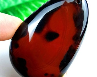 Excellent Unique Red Sardonyx Onyx Agate Orange Black Onyx Agate Teardrop Pendant Bead