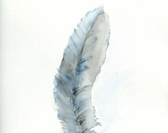 Original Watercolor of a Blue Feather