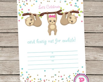 Sloth Fill In the Blank Birthday Party Invitation Instant Download Summer Hang out Party Animals Girl Glitter Celebration Slow Zoo 5x7