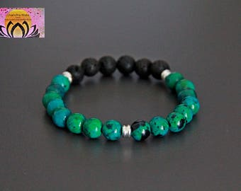 Phoenix Lapis Lazuli Lava Essential Oil Diffuser Bracelet-Silver-Wrist Mala-Gemstone-Beaded Bracelet-Yoga Jewellery-Boho-Intention Bracelet