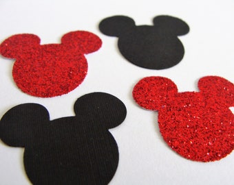 Mickey Mouse Confetti, Birthday Mickey Mouse Confetti, Black and Red Mickey Confetti, Baby Shower Decor, 1st Birthday,Mickey Party Decor