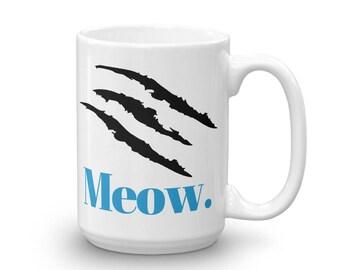 Carolina Panthers Mug, Carolina Panther Coffee Mug, Meow, Panther Fan Gift