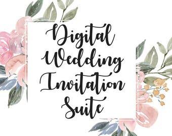 Digital Download Wedding invitation, Wedding Invitation Suite