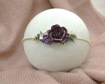 Purple/lilac floral newborn tieback