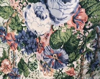 """Vintage - 3.75 yard Remnant Cyrus Clark 1991 """"Angelica"""" vining morning glory and roses on medium light weight chintz"""