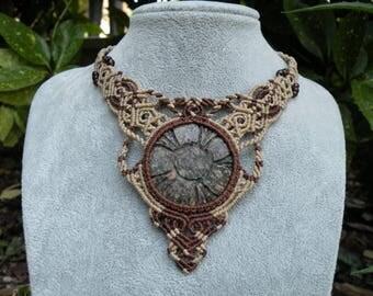 Jasper macrame necklace, macrame stone, collar necklace, choker macrame, tribal necklace, gemstone necklace, macrame jewelry,hippie necklace