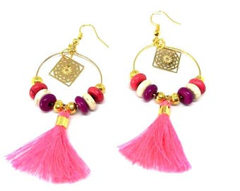 "Earrings hoop earrings, neon pink ""sequin/gold/mutlicolore/fuchsia/tassel"" Bohemian style"