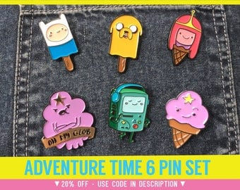 ADVENTURE TIME Pin Combo Enamel Lapel Pins - Nintendo badge brooch boyfriend denim gift fanart nerd gaming player switch retro gaymer N64