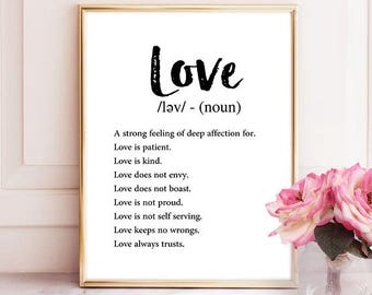 Definition Love, Digital Print, Wall Art, Wall Print, Typography Wall Art, Typography, Art Funny, Decor, Printable Quote, Typography Print