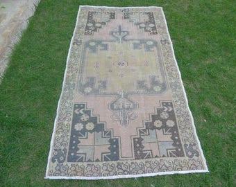 Muted Turkish Rug, Pink Turkish Rug, Handmade Rug, Anatolian Rug, Carpet Rug, Turkish Oushak Rug, Pale Rug, Rustic Rug