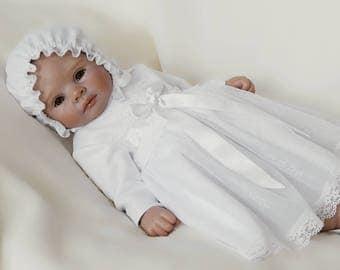 MELISSA lace baptism dress, long sleeve christening dress, long sleeves baptism dress, white lace baby dress, christening gown, taufkleid