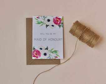 Will you be my Maid of Honour card || Floral Maid of Honour card || Wedding card