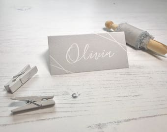 Pretty Grey Place Cards - Grey & White Wedding Name Cards  - Reception Table Decor