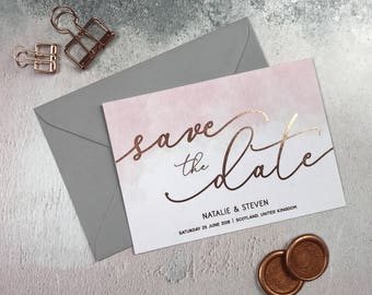 Rose Gold & Blush Save the Date, Blush Save the Date, Modern Save the Date, Wedding Announcement, Rose Gold Foil