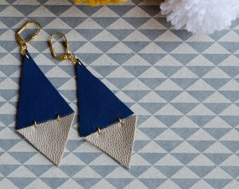 Leather earrings / / graphic and elegant / / blue, pink, gold