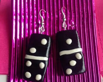 Polymer, Dominos, Earrings, Jewellery, Black and White,