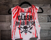 The Clash - Distressed shirt - Custom band shirt - Punk Rock - Reworked band tee -Hand Painted Tee -  Distressed - Shredded Dreams - Small