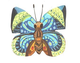 Blue Butterfly Die-Cut Sticker