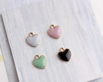 10Pcs Gold Plated with Veraman Mint Enamel Heart Charm Pendant-Love Charm Jewelry 11*13mm