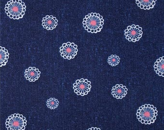 American patchwork denim blue WATER LILY fabric