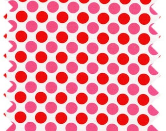 FABRIC patchwork red and pink polka dot by LECIEN Fabrics