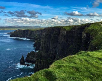 Looking back on the Cliffs, Cliffs of Moher Photography, Ireland Print, Cliffs of Moher Ireland, Ireland Photography, Ireland Photo