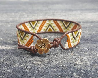 Beaded Bracelet - Leather Cuff Bracelet - Bohemian Bracelet - Gift for Her - Ibiza Jewelry - Brown Leather Bracelet - Neutral Bracelet
