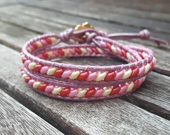 Beaded Wrap Bracelet - Dainty Pink Bracelet - Pink Jewelry - Leather Wrap Bracelet - Bohemian Bracelet - Gift for Women - Small Bracelet