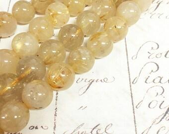 AA quality, Golden Rutilated Quartz, Yellow Beads, Round, 10mm, Full strand