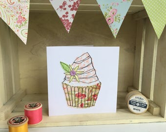 Handmade cupcake greetings card, stitched card, birthday card, blank card, embroidered card, sewn card, applique, fabric card