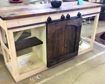 Barn door bar console