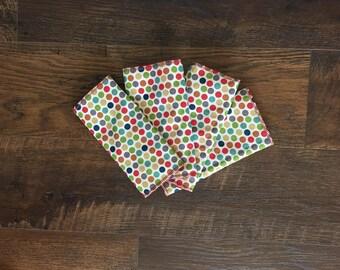 Modern Polka Dot Burp Cloths, Modern Polka Dot Burp Rags, Set of 4