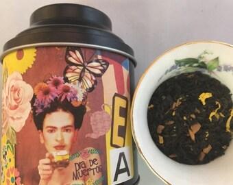 Frida Kahlo Tea Caliente Mexican Dia de Los Muertos Day of the Dead Loose Leaf Tea in Tin