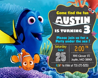 Finding Dory Invitation Finding Nemo Invitation Birthday - Finding Dory Party