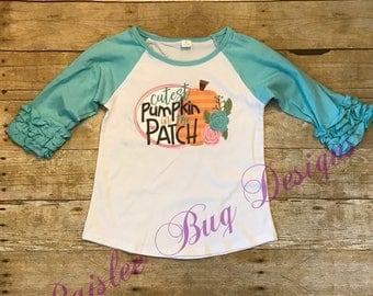 Cutest Pumpkin In The Patch Shirt, Pumpkin Patch Shirt, Halloween Shirt, Pumpkin Shirt, Pumpkin Raglan, Ruffled Raglan