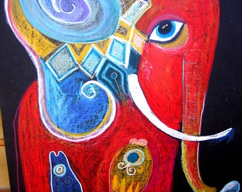 Red Elephant- ORIGINAL PAINTING 50x70 cm