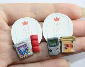 Mini game earrings, Tetris, Gameboy, Zelda