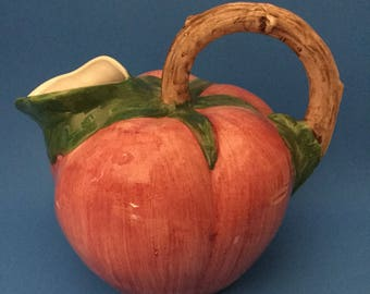 Large Handpainted ceramic Strawberry Pitcher/ jug .Made In Italy.Bassano