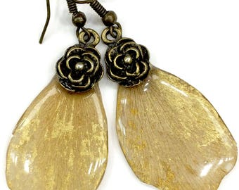 Earrings from herbal Real flowers yellow