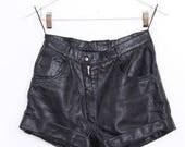 Vintage Black Leather Shorts. 28 Waist.