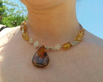 Bathed in silver with amber Choker