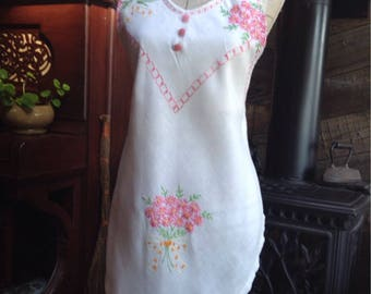 Upcycled  Vintage embroidered  tablecloth apron.