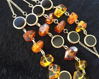 Long Baltic Amber Art Deco Necklace - Social Butterfly