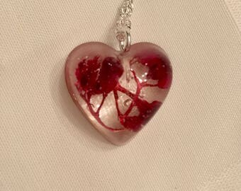 Red Flower Heart Pendant, resin jewelry, red flower jewelry, botanical jewelry, sterling silver jewelry