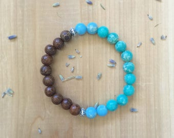 Mala Bead Bracelet, Madre De Cacao Beads, Green Imperial Beads, Turquoise Imperial Beads