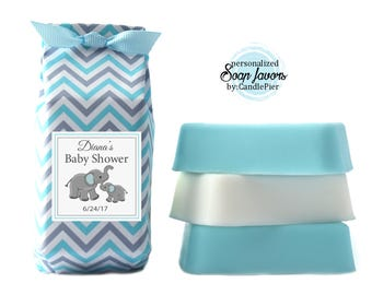 Set of 12 elephant baby shower favors, personalized soap favors, blue and gray chevron, baby boy shower, gender reveal party favors