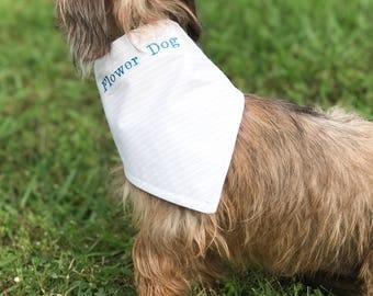 Flower Dog - Dog Wedding Attire - Dog Wedding Bandana - Dog of Honor - Wedding Dog Bandana - Flower Dog - Best Dog Bandana -  Dog Scarf
