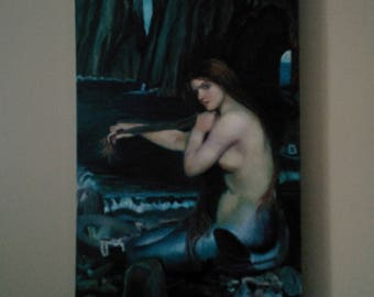 A Mermaid by John Williams Waterhouse, Reproduction of the Oil on Canvas - 24x48 by Linda B
