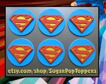 Fondant Superman Toppers, Superman Cake Topper, Superhero Cupcake, Superman Cake, Edible Superman Logo, Superman Toppers, Superhero Cake