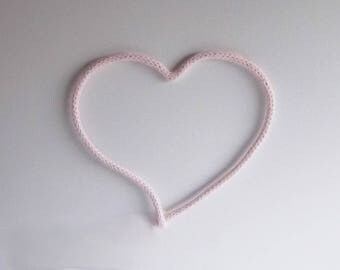 Heart decor, French knit asymmetrical heart wall decor, Wall hanging nursery decor, Romantic decor, Heart wall art home decor, Wedding decor